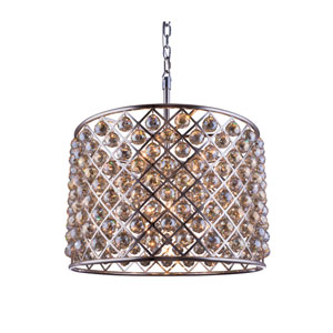 Madison Polished Nickel Eight-Light Pendant with Royal Cut Golden Teak Crystals
