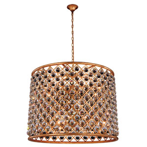 Madison Golden Iron 35.5-Inch Twelve-Light Pendant with Faceted Crystal