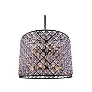 Madison Mocha Brown Twelve-Light Pendant with Royal Cut Clear Crystals