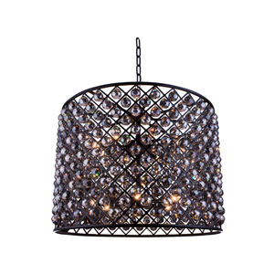 Madison Mocha Brown Twelve-Light Pendant with Royal Cut Silver Shade Crystals