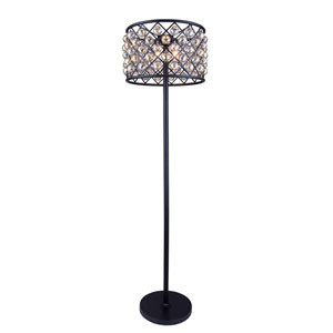 Madison Mocha Brown Four-Light Floor Lamp with Royal Cut Golden Teak Crystals