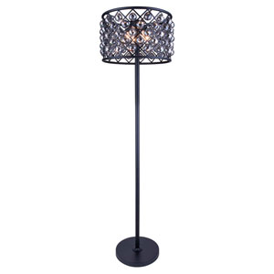 Madison Mocha Brown Four-Light Floor Lamp with Royal Cut Silver Shade Crystals