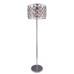 Madison Polished Nickel Four-Light Floor Lamp with Royal Golden Teak Crystals