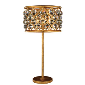Madison Golden Iron 15.5-Inch Three-Light Table Lamp with Faceted Crystal