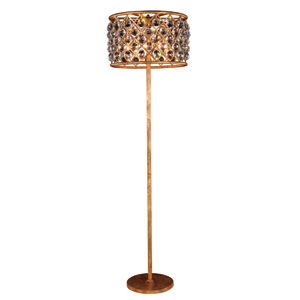 Madison Golden Iron 20-Inch Four-Light Floor Lamp with Faceted Crystal