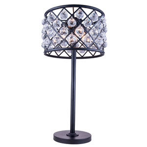 Madison Mocha Brown Three-Light Table Lamp with Royal Cut Clear Crystals