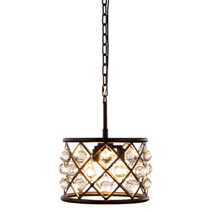 Madison Mocha Brown Three-Light Pendant with Smooth Clear Crystals