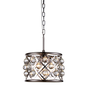 Madison Polished Nickel Three-Light Pendant with Smooth Clear Crystals