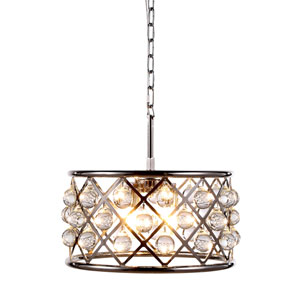 Madison Polished Nickel Four-Light Pendant with Smooth Clear Crystals