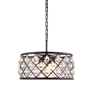 Madison Mocha Brown Five-Light Pendant with Smooth Clear Crystals