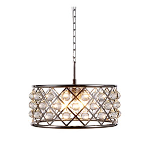 Madison Polished Nickel Five-Light Pendant with Smooth Clear Crystals