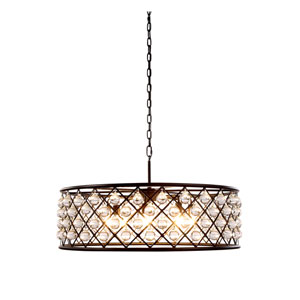 Madison Mocha Brown Eight-Light Pendant with Smooth Clear Crystals