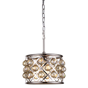 Madison Polished Nickel Three-Light Pendant with Faceted Golden Teak Crystals