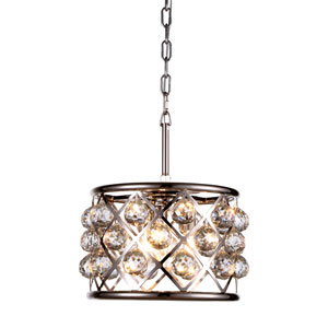 Madison Polished Nickel Three-Light Pendant with Faceted Clear Crystals