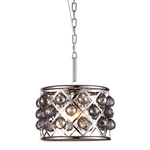 Madison Polished Nickel Three-Light Pendant with Faceted Silver Crystals