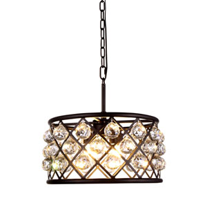 Madison Mocha Brown Four-Light Pendant with Faceted Clear Crystals