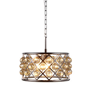 Madison Polished Nickel Four-Light Pendant with Faceted Golden Teak Crystals