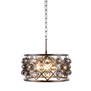 Madison Polished Nickel Four-Light Pendant with Faceted Silver Crystals