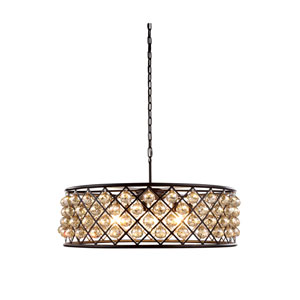Madison Mocha Brown Eight-Light Pendant with Faceted Golden Teak Crystals