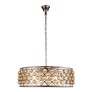 Madison Polished Nickel Eight-Light Pendant with Faceted Golden Teak Crystals