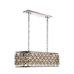 Madison Polished Nickel Six-Light Pendant with Golden Teak Crystals