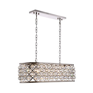 Madison Polished Nickel Six-Light Pendant with Clear Crystals