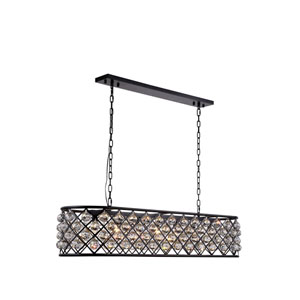 Madison Mocha Brown Seven-Light Pendant with Clear Crystals