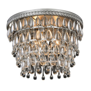 Nordic Antique Silver Three-Light Flush Mount