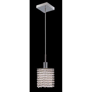 Mini Square Chrome Mini Pendant with Royal Cut Clear Crystal and Square Canopy