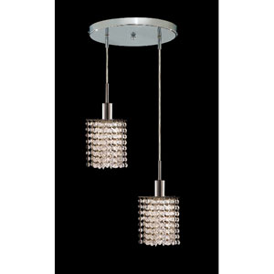 Mini Star Chrome Two-Light Mini Pendant with Royal Cut Clear Crystal and Round Canopy