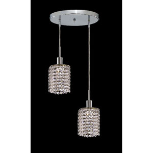Mini Round Chrome Two-Light Mini Pendant with Royal Cut Clear Crystal and Round Canopy