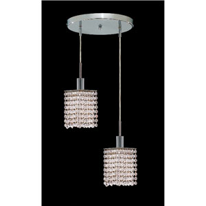 Mini Square Chrome Two-Light Mini Pendant with Royal Cut Clear Crystal and Round Canopy