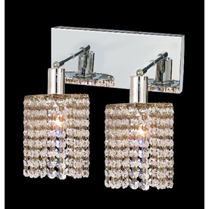 Mini Round Chrome Two-Light Bath Fixture with Royal Cut Clear Crystal and Oblong Canopy