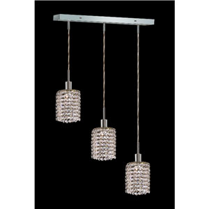 Mini Round Chrome Three-Light Mini Pendant with Royal Cut Clear Crystal and Oblong Canopy