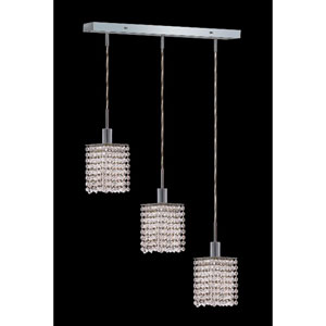 Mini Square Chrome Three-Light Mini Pendant with Royal Cut Clear Crystal and Oblong Canopy