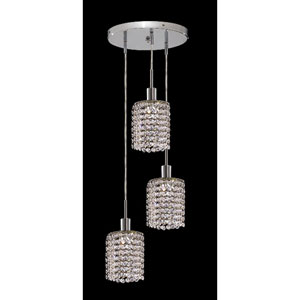 Mini Round Chrome Three-Light Mini Pendant with Royal Cut Clear Crystal and Round Canopy