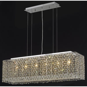 Moda Chrome Six-Light 38-Inch Island Pendant with Royal Cut Clear Crystal