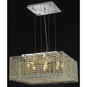 Moda Square Chrome Nine-Light 22-Inch Pendant with Royal Cut Clear Crystal