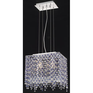 Moda Rectangle Lace Chrome Two-Light 14-Inch Pendant with Royal Cut Clear Crystal