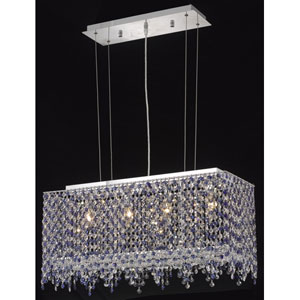 Moda Rectangle Lace Chrome Four-Light 26-Inch Island Pendant with Royal Cut Clear Crystal