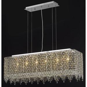 Moda Rectangle Lace Chrome Six-Light 38-Inch Island Pendant with Royal Cut Clear Crystal