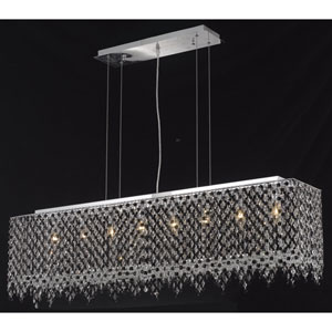 Moda Rectangle Lace Chrome Eight-Light 46-Inch Island Pendant with Royal Cut Clear Crystal