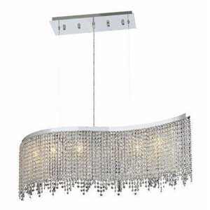Moda Chrome Five-Light Chandelier with Clear Elegant Cut Crystals