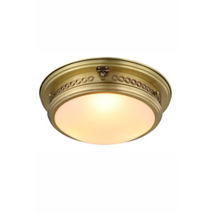 Mallory Burnished Brass Three-Light Flush Mount