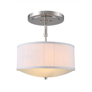 Manhattan Polished Nickel Two-Light Drum Pendant