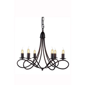 Lyndon Dark Bronze Six-Light Chandelier