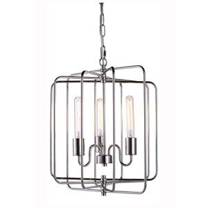 Lewis Polished Nickel Three-light Pendant