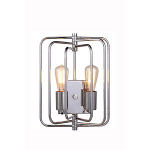 Lewis Polished Nickel Two-Light Wall Sconce