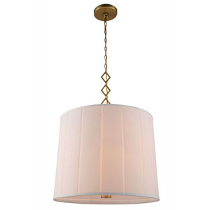 Luna Burnished Brass Two-Light Drum Pendant