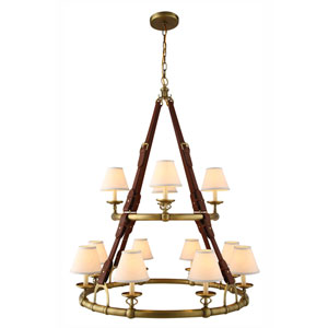 Cascade Burnished Brass Twelve-Light Chandelier